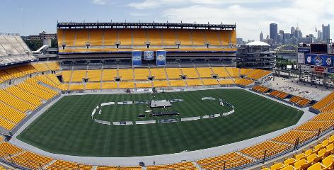 A view of the playing area at Pittsburgh's Heinz Field shows where the NHL plans to put its rink for the Jan. 1 Winter Classic.