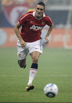 Federico Macheda of Manchester United moves the ball during the MLS All-Star Game. His two early goals gave Manchester a big advantage.