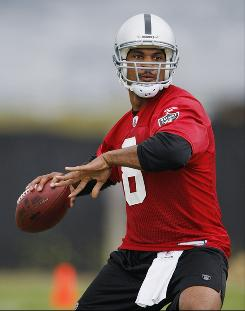 After an offseason trade from the Washington Redskins, Jason Campbell won't be looking over his shoulder as he takes over the offense with the Oakland Raiders, who open training camp Thursday.