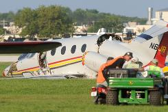 NASCAR team owner Jack Roush's business jet was damaged in a landing on Tuesday at Wittman Regional Airport in Oshkosh, Wis. Roush was in series but stable condition after walking away from the crash.