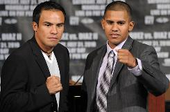 Juan Manuel Marquez, left, knocked out Juan Diaz in their first bout.