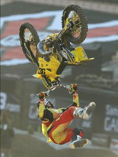 Travis Pastrana, performing a stunt during the Moto X Freestyle final, won his first X Games gold medal since 2006.