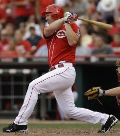 Scott Rolen doubles to start the Reds' four-run seventh-inning rally against the Braves. Trailing 2-1 entering the inning, the Reds went on to win 5-2.