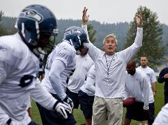 Seahawks coach Pete Carroll opened his first trainig camp in Seattle on Saturday.