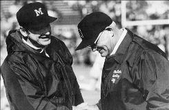 Michigan football coach Bo Schembechler, left, and Ohio State coach Woody Hayes seemed to always have a say in who won the Big Ten title.