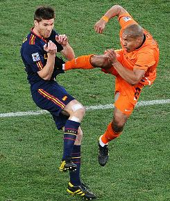 Dutch midfielder Nigel de Jong's kick to the chest of Spain's Xabi Alonso was one of many rash challenges in the ill-tempered World Cup final on July 11.