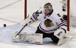 Financial considerations led the Blackhawks to part company with goalie Antti Niemi, stopping a puck during Game 6 of the Stanley Cup Final against the Flyers.
