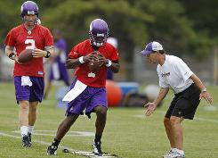Sage Rosenfels, left, and Tarvaris Jackson could be in line for a QB competition if Brett Favre doesn't return to the Vikings.