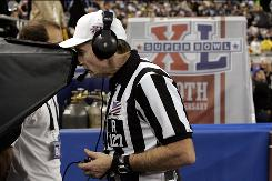 "Referee Bill Leavy, reviewing a play during Super Bowl XL on Feb. 5, 2006, said two fourth-quarter calls left him ""with a lot of sleepless nights."""