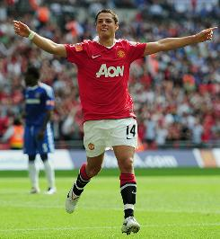 Manchester United's Javier Hernandez celebrates his goal against Chelsea during the Community Shield on Sunday.