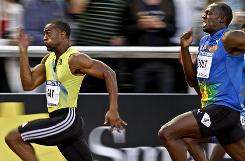 American Tyson Gay edges Jamaican Usain Bolt to win the 100 meters at the Diamond League meet in Stockholm last week. Gay gave Bolt his first loss in the event since 2008.