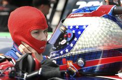 Danica Patrick suits up for a test run in Friday's Nationwide Series practice session at Michigan International Speedway.