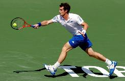 Andy Murray of Great Britain reaches for a forehand in his victory Friday against David Nalbandian of Argentina in the quarterfinals of the Rogers Cup in Toronto.