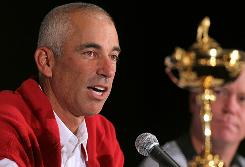 U.S. captain Corey Pavin talks about his Ryder Cup team Monday at a news conference in Milwaukee.