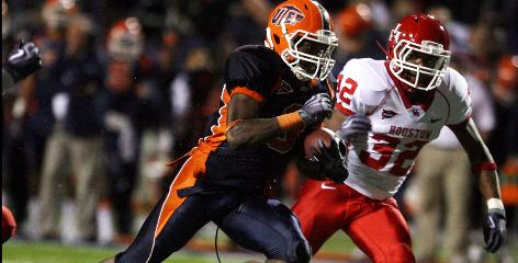 UTEP's Donald Buckram, left, exploded in 2009 for a school-record 1,594 yards and 18 touchdowns, making him the nation's second-leading returning rusher behind Pittsburgh's Dion Lewis.
