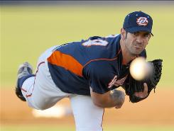 Former Cubs ace Mark Prior plies his trade now with the Orange County Flyers in Fullerton, Calif. The Flyers play in the independent Golden Baseball League. Prior, 29, wants to make it all the way back to the majors.