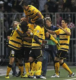 Young Boys players celebrate after scoring a goal during their 3-2 Champions League first-leg victory against Tottenham.