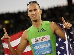 Jeremy Wariner celebrates winning the men's 400-meters at the Diamond League Weltklasse meet on Thursday.