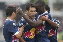 Rafael Marquez, center, celebrates with Red Bulls teammates after netting a first-half goal against Toronto FC.