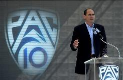 The Pac-10 Conference, led by Commissioner Larry Scott, has a new logo and soon will get new teams and a new name.