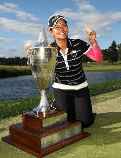 Ai Miyazato has been piling up trophies this year, five in all, the latest coming Sunday at the Safeway Classic. She also climbed back to No. 1, for the second time this year.