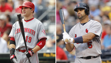 The Reds' Joey Votto and the Cardinals' Albert Pujols are each ranked in the top three of the NL Triple Crown categories. Pujols leads in homers and RBI, Votto in batting average.