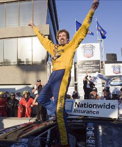 Boris Said celebrates in victory lane after winning the NASCAR Nationwide Series Napa Auto Parts 200 in Montreal.