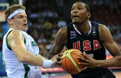 Team USA's Kevin Durant drives past Slovenian defender Miha Zupan during their preliminary round game.