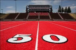 Eastern Washington football will play its first season on the red artificial turf shown here.