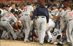 The Nationals and Marlins brawled during the sixth inning after Washington's Nyjer Morgan charged the mound after Florida hurler Chris Volstad threw behind him.