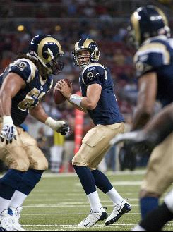 St. Louis Rams quarterback Sam Bradford completed 6 of 6 passes for 68 yards and a touchdown in a 27-21 preseason victory over the Ravens.