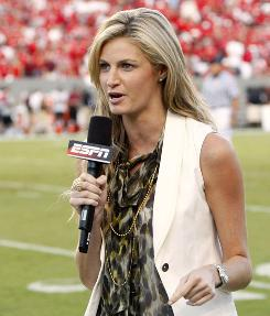 "ESPN' Erin Andrews debuts Saturday as one of the anchors for the first hour of ""College GameDay,"" which starts on ESPNU and shifts to its traditional slot on ESPN, where she will continue to appear on-air as a reporter."