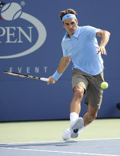 Five-time champ Roger Federer of Switzerland makes short work of Andreas Beck of Germany on Thursday at the U.S. Open, a second-round, 6-3, 6-4, 6-3 victory that took only about an hour and 41 minutes.