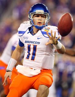 Boise State quarterback Kellen Moore threw 39 touchdowns to just three interceptions last season in his second year as the starter.