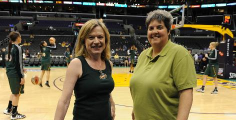 Storm owners Dawn Trudeau, left, and Lisa Brummel pose before Game 2 of the Western Conference semifinals against the Sparks in Los Angeles. &quot;We're just as capable as anybody else is of being successful in this field,&quot; says Trudeau.