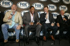 Terry Bradshaw, left, Michael Strahan, second from left, Howie Long, second from right, and Jimmy Johnson will add analysis to Fox's NFL telecasts this season.
