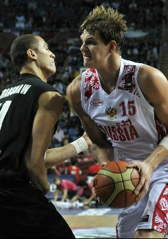 Russia's Timofey Mozgov drives to the basket in a game vs. New Zealand. At 7-1, Mozgov will pose a threat to the U.S. frontcourt. 