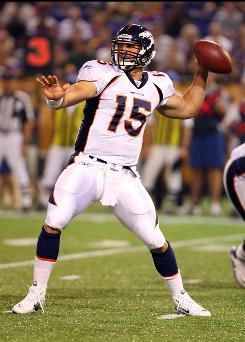 Rookie quarterback Tim Tebow and the Denver Broncos open the season Sunday in Tebow's hometown of Jacksonville against the Jaguars. Whether he sees the field or not is still uncertain.