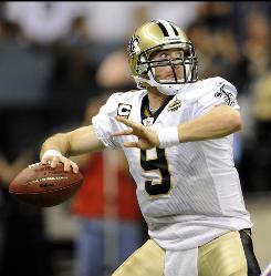 Saints quarterback Drew Brees completed 27 of 36 passes for 237 yards and one touchdown in a 14-9 win over the Vikings Thursday night.