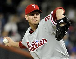 Starter Roy Halladay earned his 18th win of the season, becoming the first Phillies pitcher since John Denny won 19 in 1983 to reach 18 wins.
