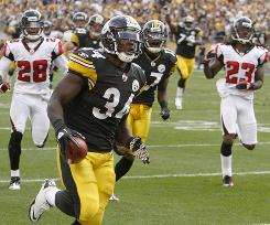 Pittsburgh running back Rashard Mendenhallscores on a 50-yard game-winning touchdown in against Atlanta.