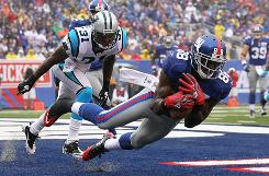 Though he didn't lead his team in catches or receiving yards, Giants wide receiver Hakeem Nicks was a fantasy standout in Week 1 with three touchdown receptions.