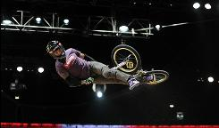Jamie Bestwick, here competing for the  gold medal in the BMX Freestyle Vert Final during X Games 16 earlier this year, leads the Dew Cup points standings.