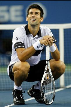 Novak Djokovic reacts during his four-set loss to Rafael Nadal in the U.S. Open men's final. &quot;I can't predict how I'll feel on Friday but you always find the strength and energy when you play for your country in such an important match,&quot; Djokovic said.