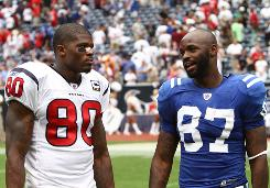Houston's Andre Johnson, left, and Indianapolis' Reggie Wayne are among the NFL's best receivers.