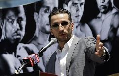 Fighter Sergio Mora speaks during a news conference in Los Angeles. Mora is scheduled to fight Shane Mosley in a junior middleweight match Saturday in Los Angeles.