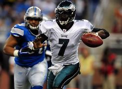 Michael Vick helped the Eagles defeat the Lions as he replaced the injured Kevin Kolb in a start on Sunday.