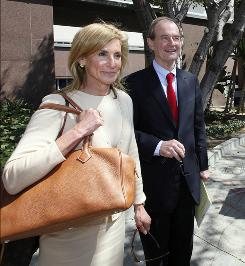 Jamie McCourt, with attorney David Boies, testified that she didn't read a marital property agreement.