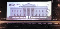 An image displayed at Charlotte Motor Speedway compares a planned 80 x 200-foot high-definition television screen with the size of the White House. The screen is expected to be in place for the 2011 racing season at the track.