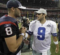 Tony Romo, right, and the 0-2 Cowboys will play Matt Schaub and the 2-0 Texans in the battle of Texas on Sunday.